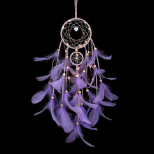 Girl heart cute soft sister white feather dream catcher with lights room decoration shooting props hanging birthday gifts