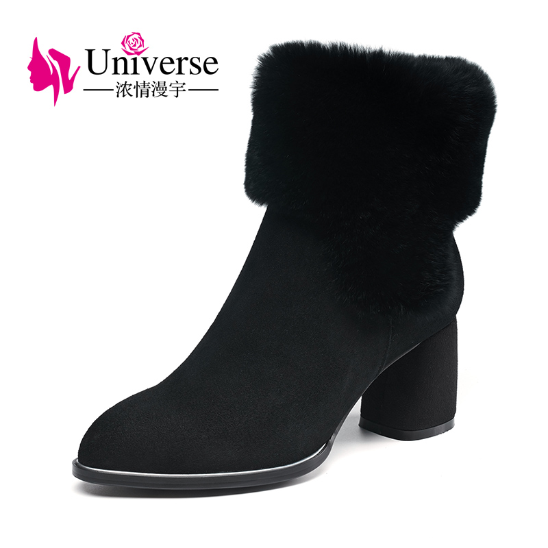 Universe real fur women winter ankle boots kid suede upper shoes chunky heel black boots for ladies G238 dune london сандалии