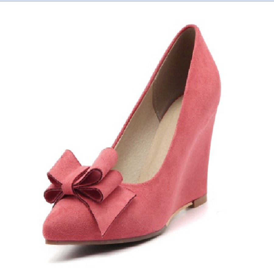 Spring/autumn women's shoes shallow scrub wedges high heel shoes woman butterfly-knot party small size 3 plus size ladies pumps new flock high big size 11 12 women shoes wedges pointed toe woman ladies butterfly knot casual spring autumn sweet single shoes