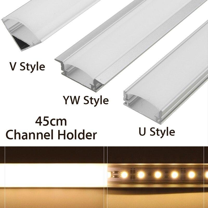 U/V/YW Tarzı Şekilli 45 cm Gümüş Alüminyum LED bar ışığı Kanal Tutucu LED şerit aydınlatma çubuğu kabin lambası