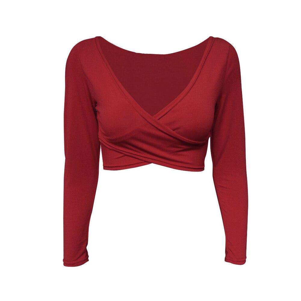 335acd84222a11 Blusas Femininas 2019 Deep V Neck Casual t shirt Cropped Tops Pleated Women  Top Punk tshirt Shirts Cross Front Clothing