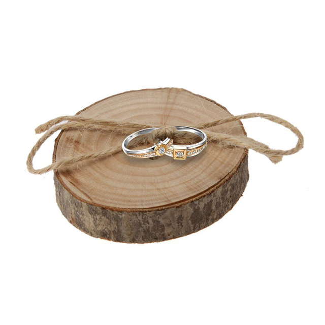 Rustic Shabby Chic Wedding Wooden Ring Pillows Wood Slice Engagement Holder