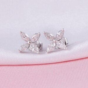 Image 2 - DovEggs 14K White Gold Marquise Cut 2*4mm F Color Moissanite Diamond Stud Earrings For Women Flower Shape Screw Back Earring