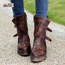 Haute qualité en cuir véritable à la main bottes nostalgique vintage femmes bottes coins moyen jambe ascenseur bottes boucle bottes T1521-1