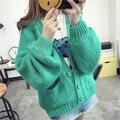 Das 2016 mulheres novas outono inverno sopro manga solta suéter Grosso cardigans mulher casaco bolsos manga batwing casaco de malha 4 cores