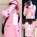 C2H4 cherry blossom colocar rosa algodão doce série buraco solta desgastado hoodies hip hop chapéu de lã sem forro vestuário superior