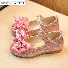 Xinfstreet Girls Shoes Princess PU Leather Cute Bow Bling Baby Kids For Designer Single Shoe Girl Size 21-36