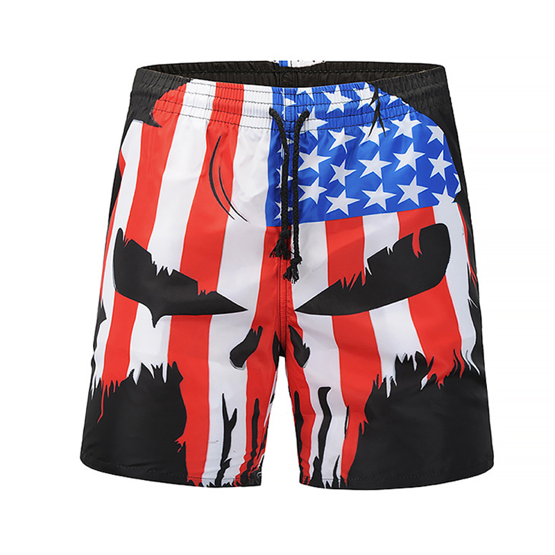 New Arrive 3D Print Men   Shorts   Skull Head Flag Casual Cool Summer Men Beach   Board     Shorts   Male Running Fitness   Short   Box
