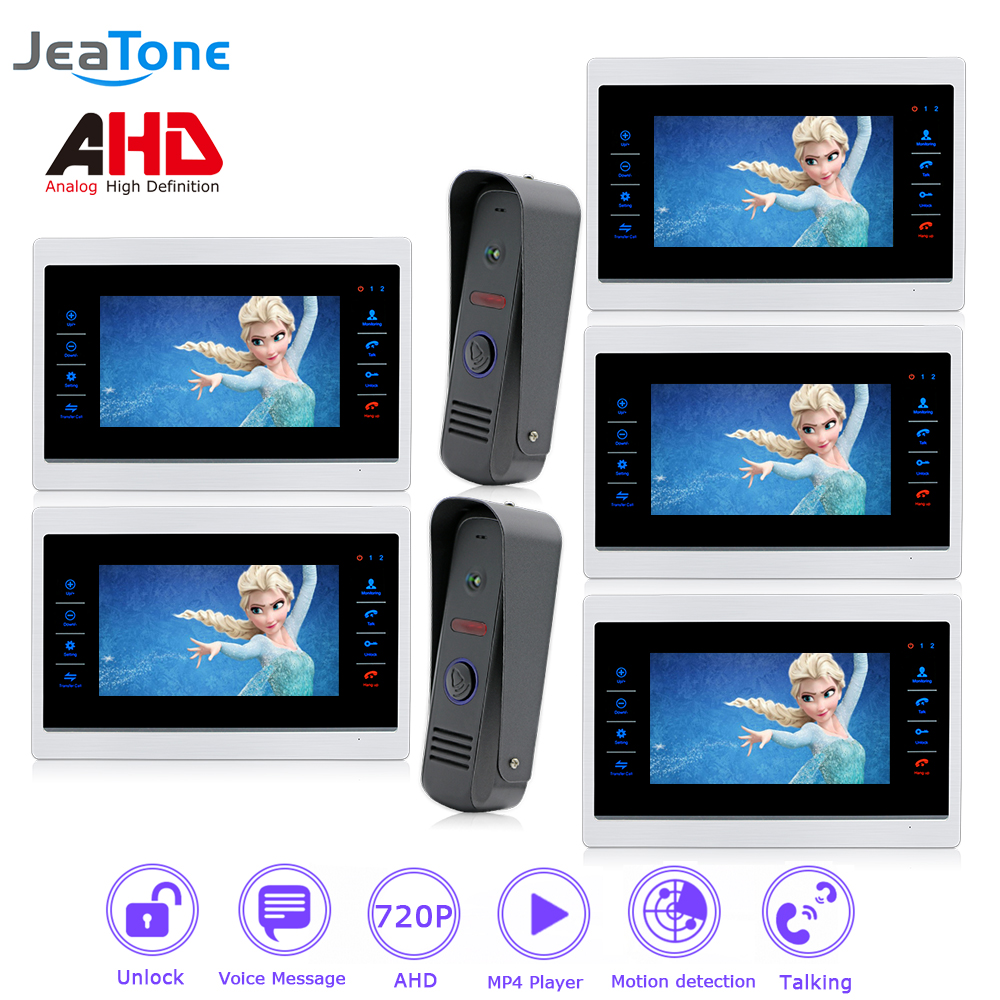 4 Wired 720P/AHD Intercom 7'' Video Door Phone Door Bell Door Speaker Security System Voice message/Motion Detection/MP4 Player