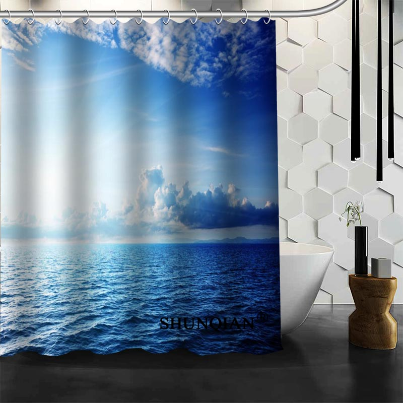 Hot Sale Waterproof Bathroom Curtains New arrival blue sky Shower Curtain polyester Bath screens Customized curtain