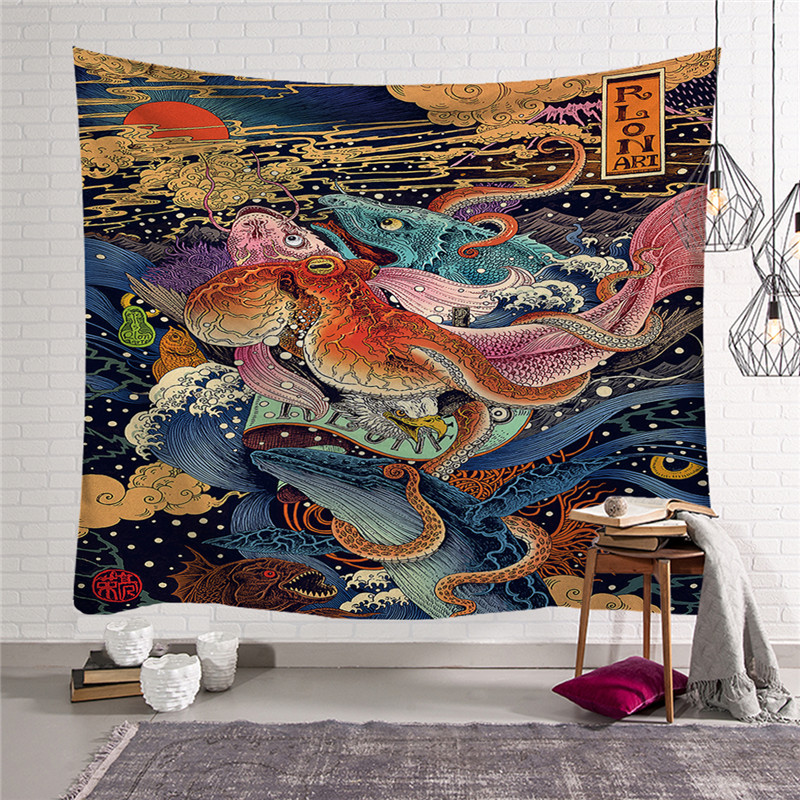 Cartoon Anime Print Wall Tapestry Home Decor Japanese  Wall Hanging Beach Hippie Blanket  Home Decor Tapestry W3-new-Lo-5