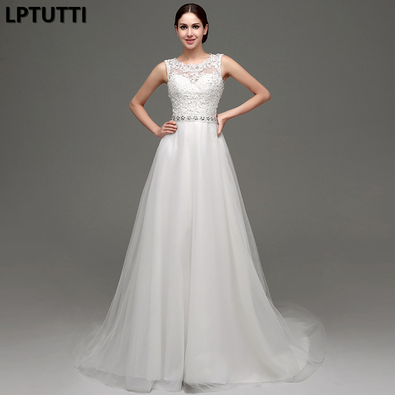 LPTUTTI Crystal New White Lace Sexy Vintage Princess Bridal Marriage Gown Bride Simple Party Events Long Luxury Wedding Dresse