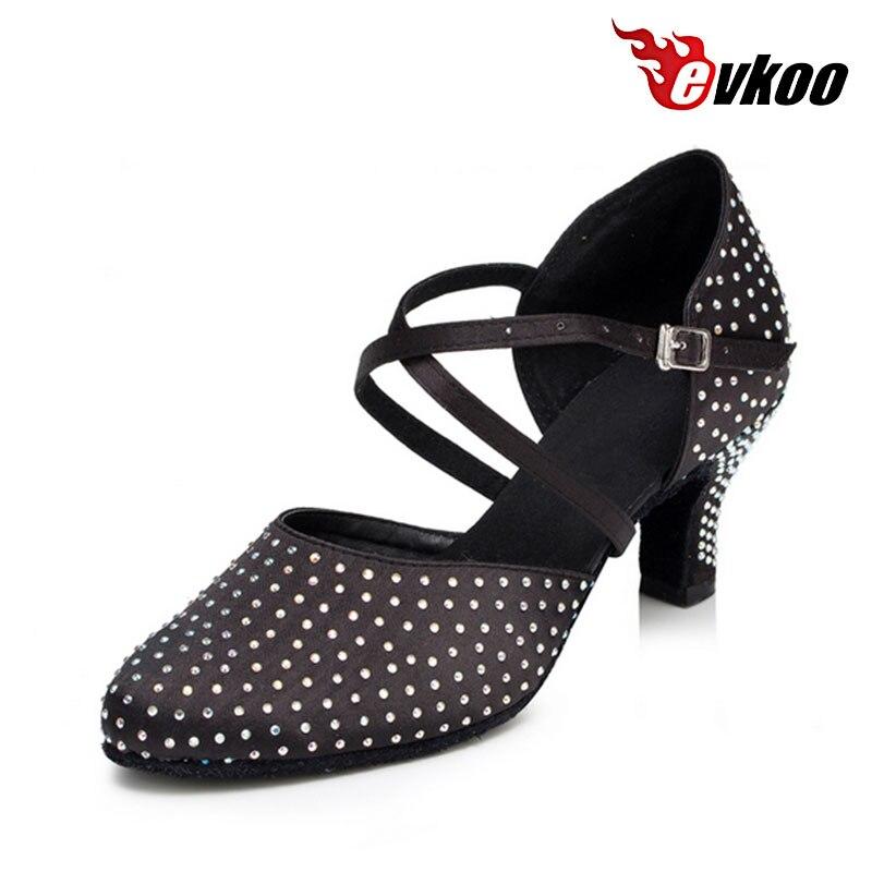 Evkoodance chaussures de salle de bal filles danse moderne forage chaud paquet de salle de bal orteils talon 6 cm automne et hiver chaussures de danse Evkoo-449