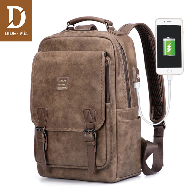 DIDE USB Charging Port laptop backpack men Mochila Vintage Casual Travel backpack Bag Male Preppy Schoolbag