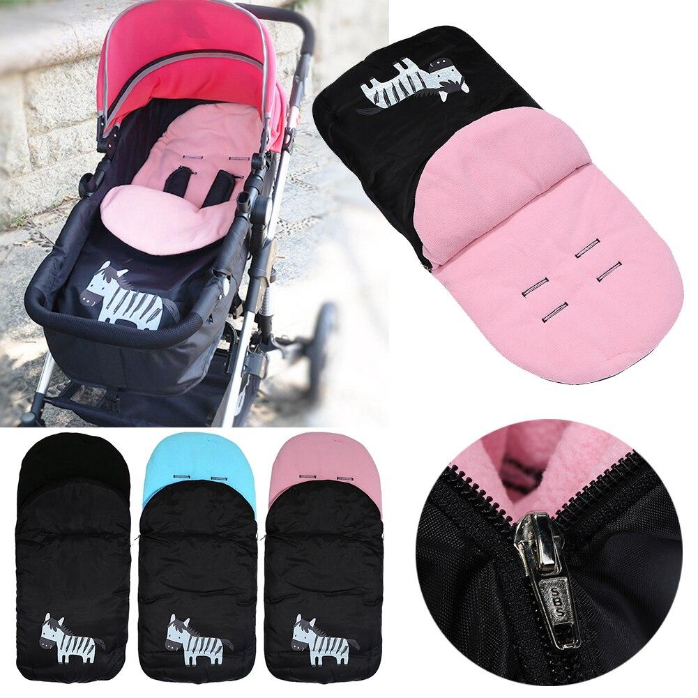 Baby <font><b>Sleeping</b></font> Bag Cartoon Zebra Envelopes Trolley Foot Warmer Stroller Thickened Fleece Feet Warming Pad Toddler Sleepsack