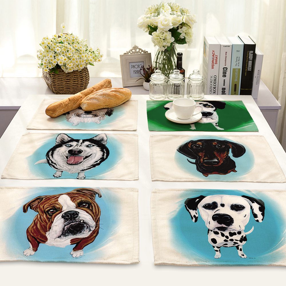 Cute Cartoon pet dog Pattern Table Mat Animal Table Napkin Placemat Kitchen Decoration Dining Accessories 42x32cm MA0048