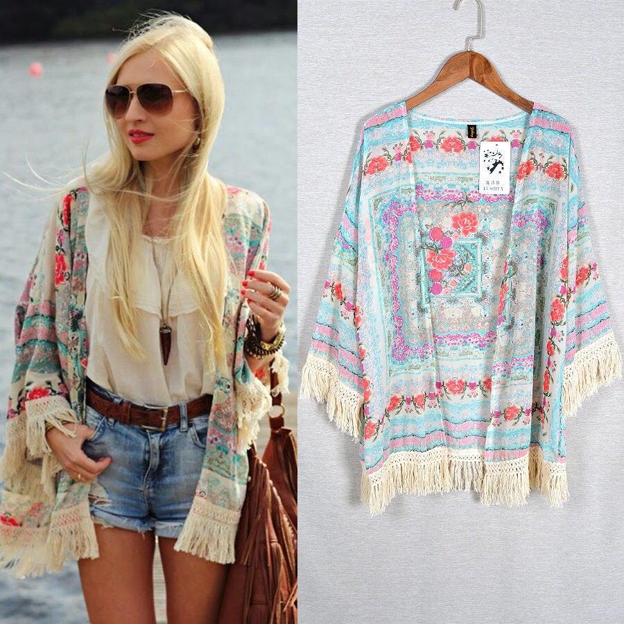 Women's Clothing Women Vintage Floral Loose Blouse Summer Fashion Bandage Shirts