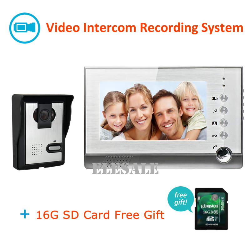 Free Shipping 7 Video Door Phone Intercom Record System With 16G SD Card Video Doorbell Camera Night Vision Handsfree