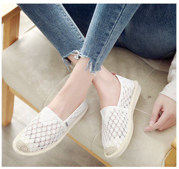 Breathable Summer Women Flats Fashion Basic Fisherman Hollow Canvas shoes Lace White Classic Slip On Casual Shoes Women VT230 (3)