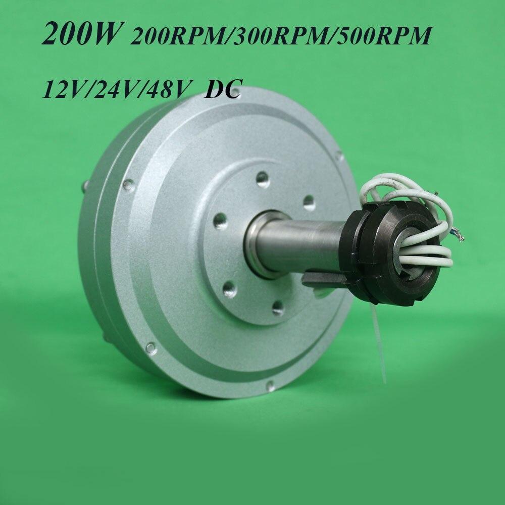 FLTXNY 200W 12V 24v 48v sans noyau ac générateur d'aimant Permanent de terres rares à bas régime 200/300/500 tr/min 0.2kw