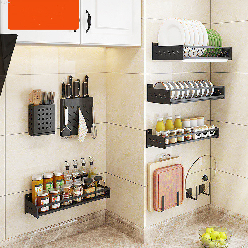 Black Stainless Steel Kitchen Shelf Wall-mounted Punch-free Bowls Dishes Holder Pot Cover Seasoning Storage Rack Hanging Shelf