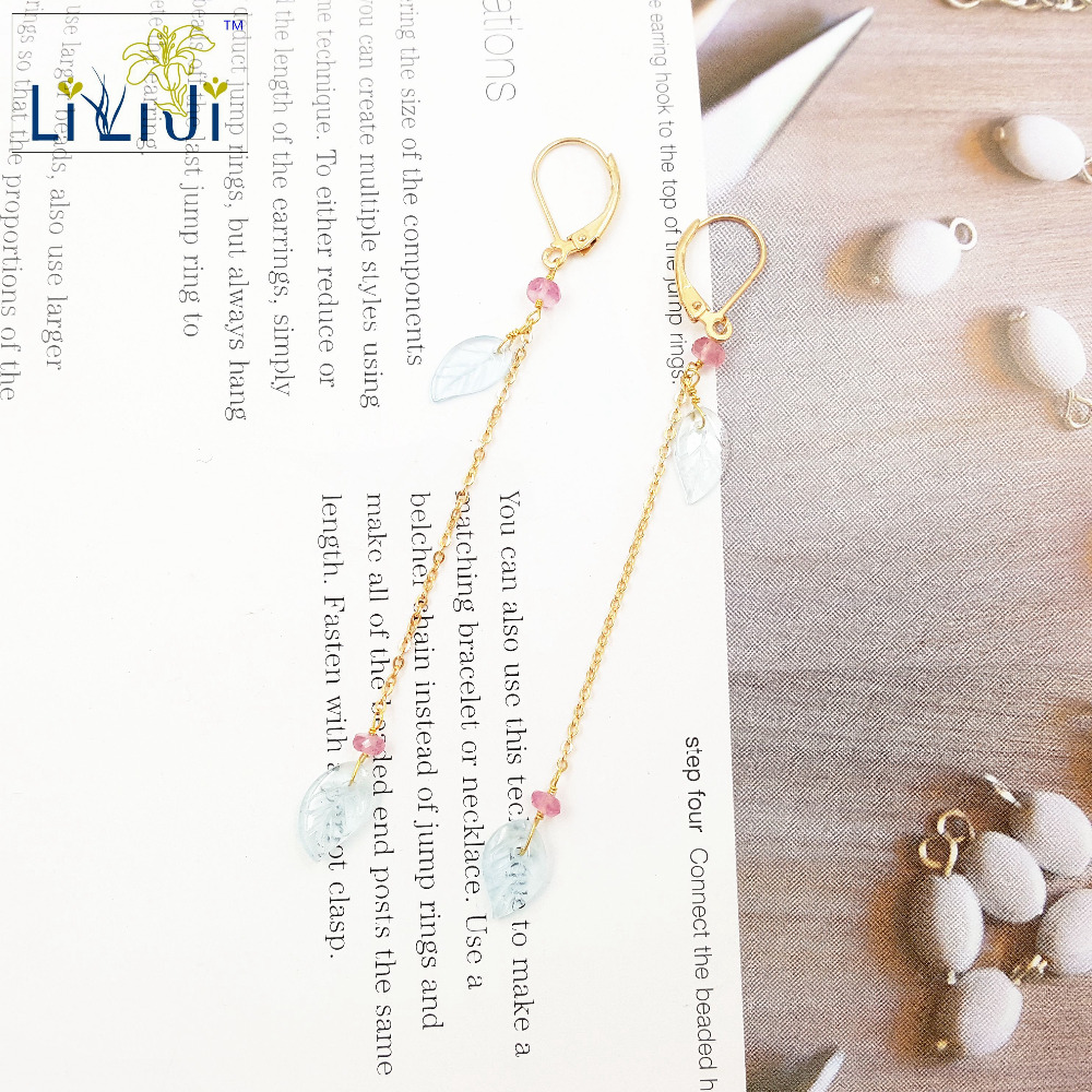 Lii Ji Natural Pink Tourmaline,Aquamarine Leaf Drop 925 sterling silver Chain Drop Earrings leaf decorated drop earrings