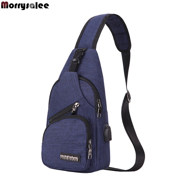 Cross-border for custom new shoulder bag men's charging bag sports men's USB chest bag diagonal package