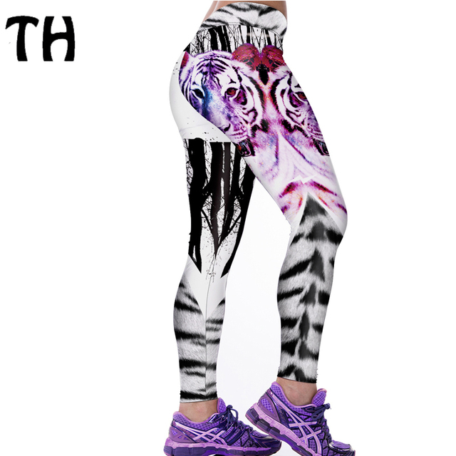 2016 Thin Women Leggings Pants Forest Tiger Printing Compression Sweatpants Elastic Quick-dry Leggins Mujer #160566