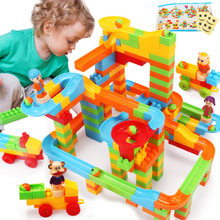 QWZ DIY Funny Race Run Track Colorful Construction Balls Rolling Track Model Building Blocks Compatible Legoings Duploe Bricks(China)