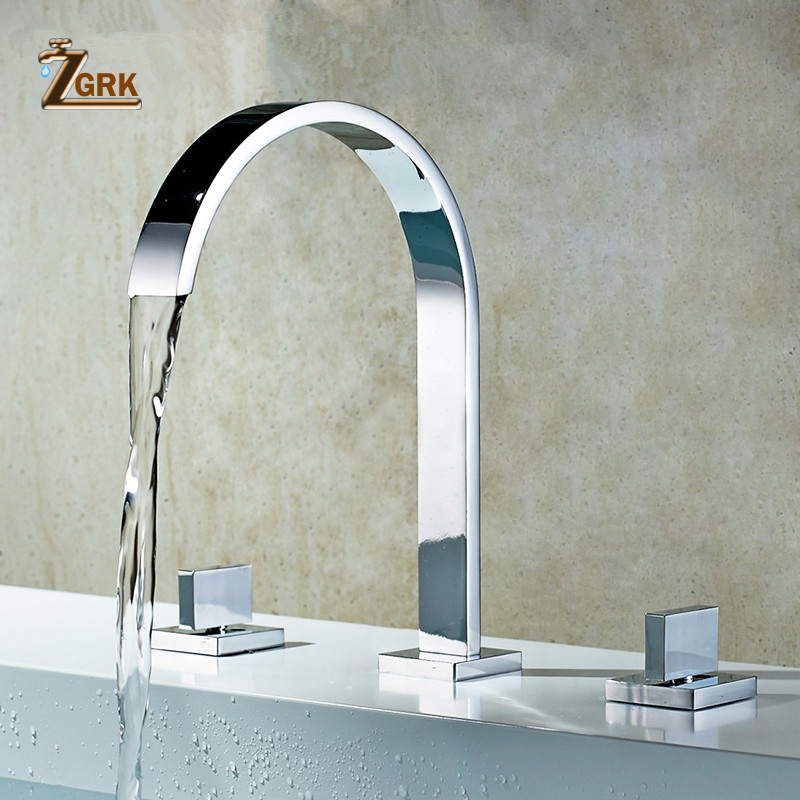 Bathtub Faucets Brass Polished Chrome Deck Mounted Square Bathroom Sink Faucets 3 Hole Double Handle Hot And Cold Water TapBathtub Faucets Brass Polished Chrome Deck Mounted Square Bathroom Sink Faucets 3 Hole Double Handle Hot And Cold Water Tap
