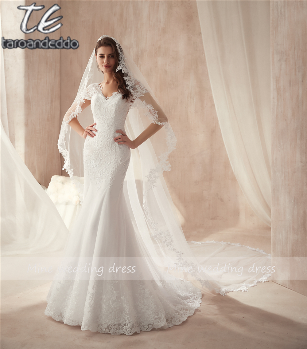 V neck Appliqued Lace Illusion Back Bridal Dress Formal Gown For Brides Cap Sleeve Mermaid Wedding