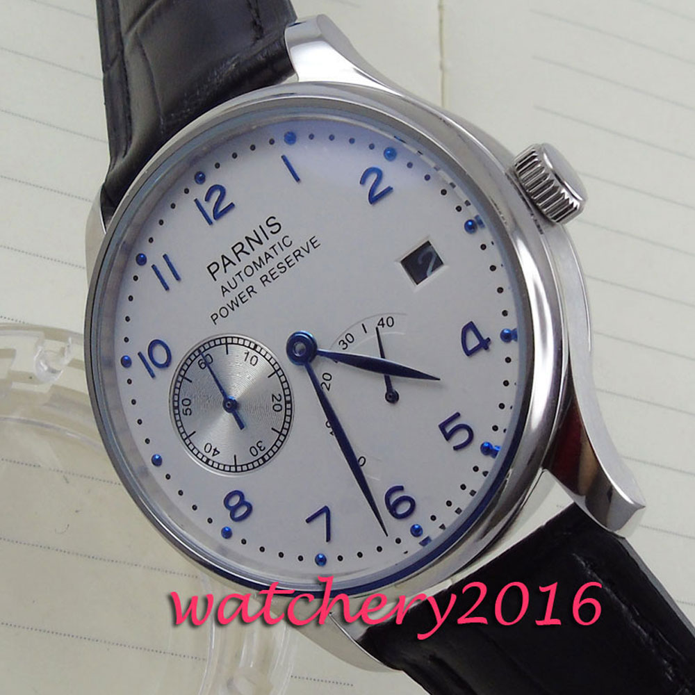 new 43mm Parnis white dial date adjust power reserve blue number Automatic movement Men's Watch футболка поло