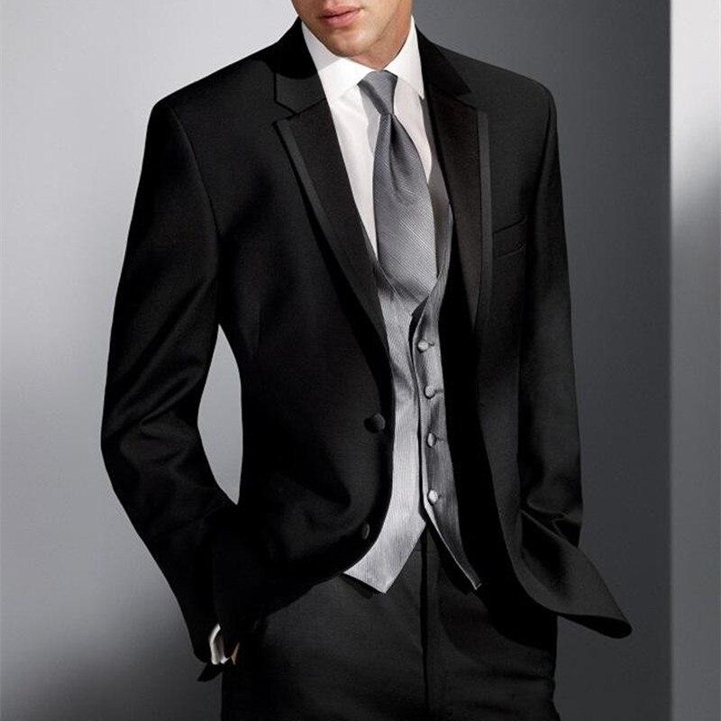 Классический стиль, две кнопки, черный смокинг жениха для жениха, мужские свадебные костюмы, платье для выпускного вечера, 5 шт., мужской кост