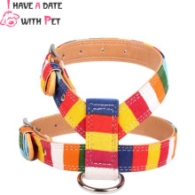 (1 pieces/lot) Pet dog accessories Canvas Pu Leather colorful Dog harness