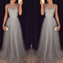 Summer Long Maxi Formal Lace Party Dress Women Elegant Plus Size O-neck Sequined Bridesmaid Prom Long Dresses 2018
