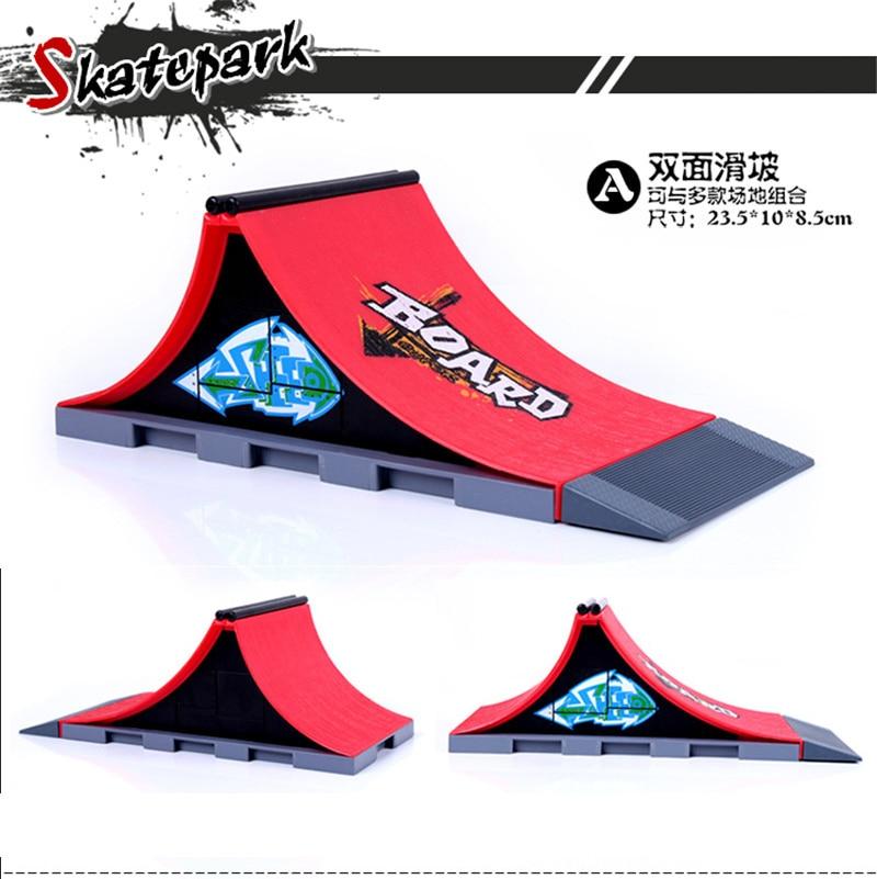 Modèle A + D + E Mini Rampe de Planche À Roulettes De Doigt de Parc/Skatepark Tech-Pont Skate Park Comprend 3 doigt Connecté Chute D'arc Forme - 2