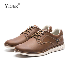 YIGER New men casual shoes leather lace-up male leisure fashion big size Lightweight sports business causal  0320