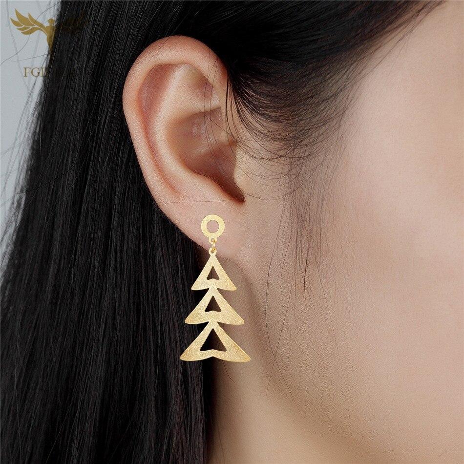 FGifter Christmas Jewelry Golden Christmas Tree Pendant Hanging Earrings Women Oorringen Gift