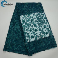 Alisa Dark Green African French Tulle Lace Fabric High Quality Nigerian Embroidery Tulle Lace With Beads