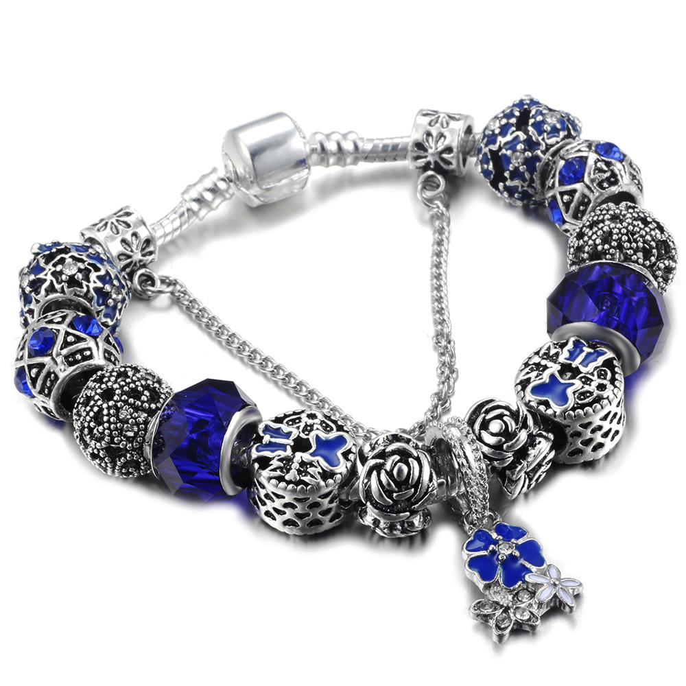 HOMOD Silver Color Charm Bracelet Pulseira with Murano Glass Beads Snake Chain Pandora Bracelet for Women Jewelry