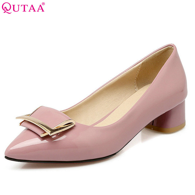QUTAA Elegant Pink Women Pumps Slip On Square Low Heel Pointed Toe Platform Summer PU leather Ladies Wedding Shoes Size 34-43 spring summer women leather flat shoes 2017 sweet bowtie flats women shoes pointed toe slip on ladies shoes low heel shoes pink