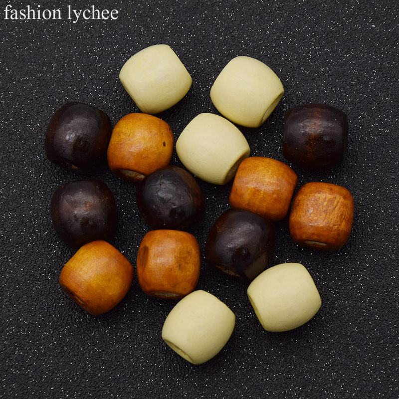 fashion lychee 20pcs Wooden Mini Dreadlock Beads Hair Bead For Braid Cuff Clip Hair Accessories for Women 8mm Hole