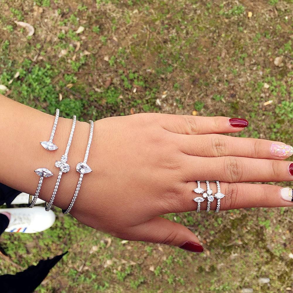 все цены на GODKI Geometric Flower Leaf Fashion Luxury Super Shiny AAA Cubic Zirconia Women Wedding Ceremony Bracelet Bangle Ring Set