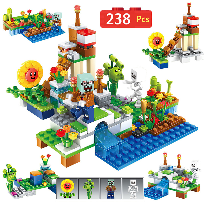 4 in 1 Compatible With Botanical Zombies Farm My World Building Block Bricks DIY LegoINGLYS Minecrafted Enlighten Brinquedos Gif free shipping manor 3 diy enlighten block bricks compatible with other assembles particles