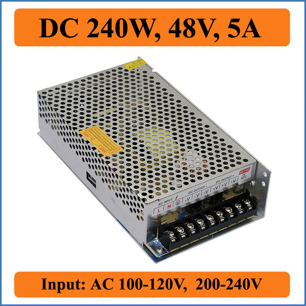 240W 48V 5A Switching Power Supply AC 100V-240V input to DC 48V 5000mA output LED Driver Adapter Regulated strip Lighting s 250 48 5a 48v 240w switching power supply 48v led power supply factory direct sales ac to dc transformer