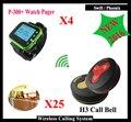 4 Relógio Receptor + 25 Botão de Chamada Sem Fio Chamando Sistema Restaurante Sistema de Paginação Chamando Atacado k-300plus