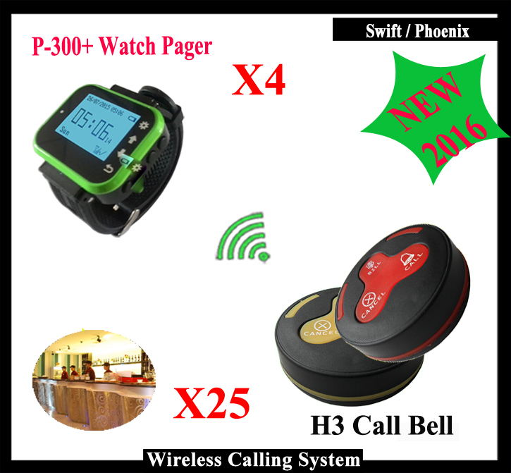 4 Watch Receiver + 25 Call Button Wireless Calling System Restaurant Paging System Calling Wholesale k-300plus 2 receivers 60 buzzers wireless restaurant buzzer caller table call calling button waiter pager system