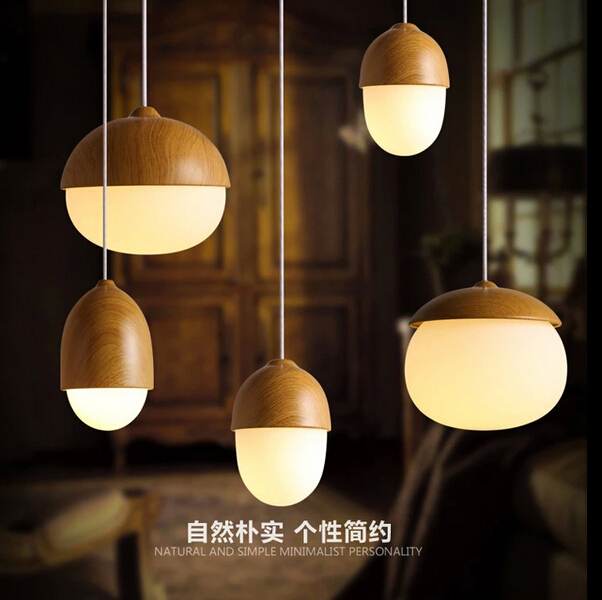 все цены на Nuts Acorn Small Mushrooms hanging lamp glass Milky Ball Glass Wood grain Iron modern pendant lamp led Pine cone pendant light