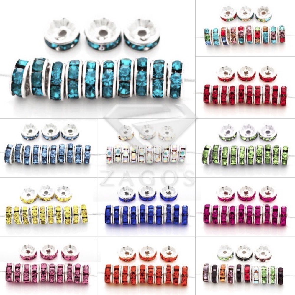 100pcs Crystal Rhinestone Rondelle Beads 6x6mm Straight Spacer Silver Plated Jewellery Making For Bracelet Necklace CR0392