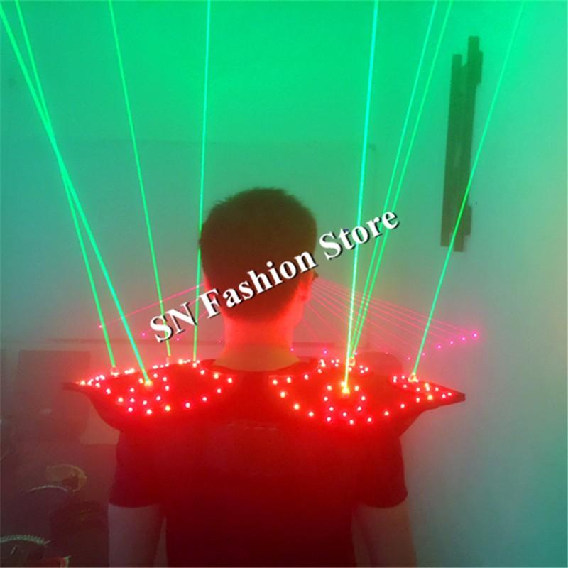 T16 Colorful light ballroom laser vest dj laser costumes dance wears laser glasses red laser suit led clothes shoulder led vest 14